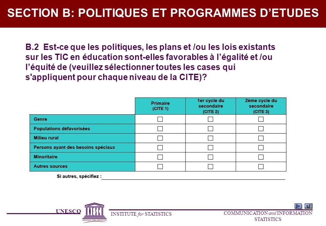 UNESCO INSTITUTE for STATISTICS COMMUNICATION and INFORMATION STATISTICS SECTION B: POLITIQUES ET PROGRAMMES DETUDES B.2 Est-ce que les politiques, le