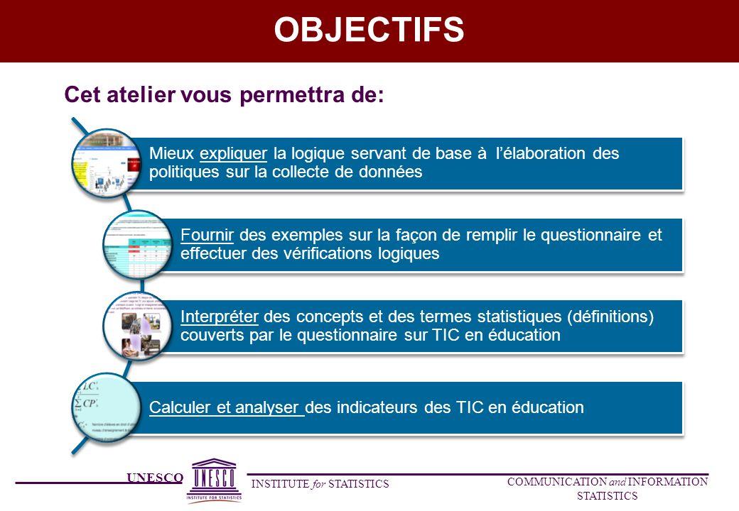 UNESCO INSTITUTE for STATISTICS COMMUNICATION and INFORMATION STATISTICS SECTION B: POLITIQUES ET PROGRAMMES DETUDES B.2 Est-ce que les politiques, les plans et /ou les lois existants sur les TIC en éducation sont-elles favorables à légalité et /ou léquité de (veuillez sélectionner toutes les cases qui s appliquent pour chaque niveau de la CITE)?