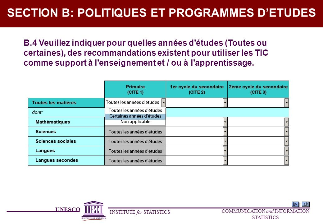 UNESCO INSTITUTE for STATISTICS COMMUNICATION and INFORMATION STATISTICS SECTION B: POLITIQUES ET PROGRAMMES DETUDES B.4 Veuillez indiquer pour quelle