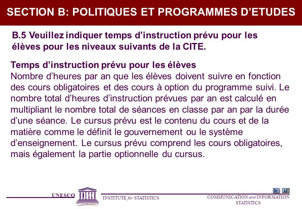 UNESCO INSTITUTE for STATISTICS COMMUNICATION and INFORMATION STATISTICS SECTION B: POLITIQUES ET PROGRAMMES DETUDES B.5 Veuillez indiquer temps dinst