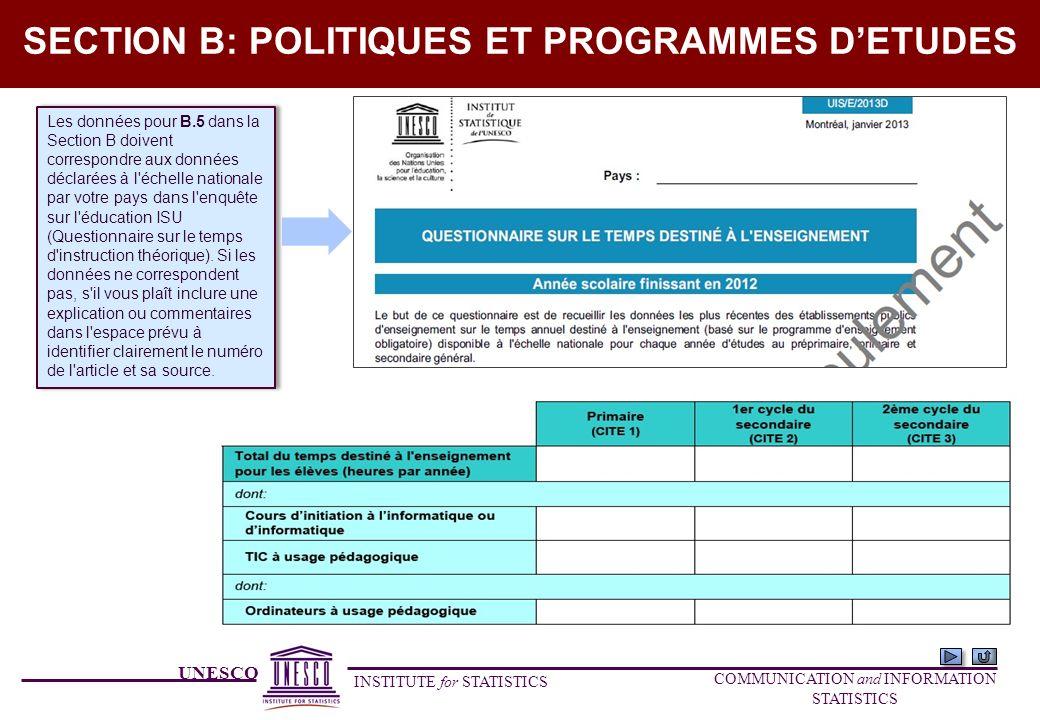 UNESCO INSTITUTE for STATISTICS COMMUNICATION and INFORMATION STATISTICS SECTION B: POLITIQUES ET PROGRAMMES DETUDES Les données pour B.5 dans la Sect