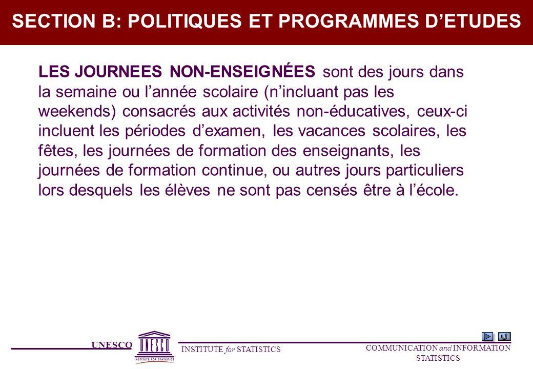 UNESCO INSTITUTE for STATISTICS COMMUNICATION and INFORMATION STATISTICS SECTION B: POLITIQUES ET PROGRAMMES DETUDES LES JOURNEES NON-ENSEIGNÉES sont