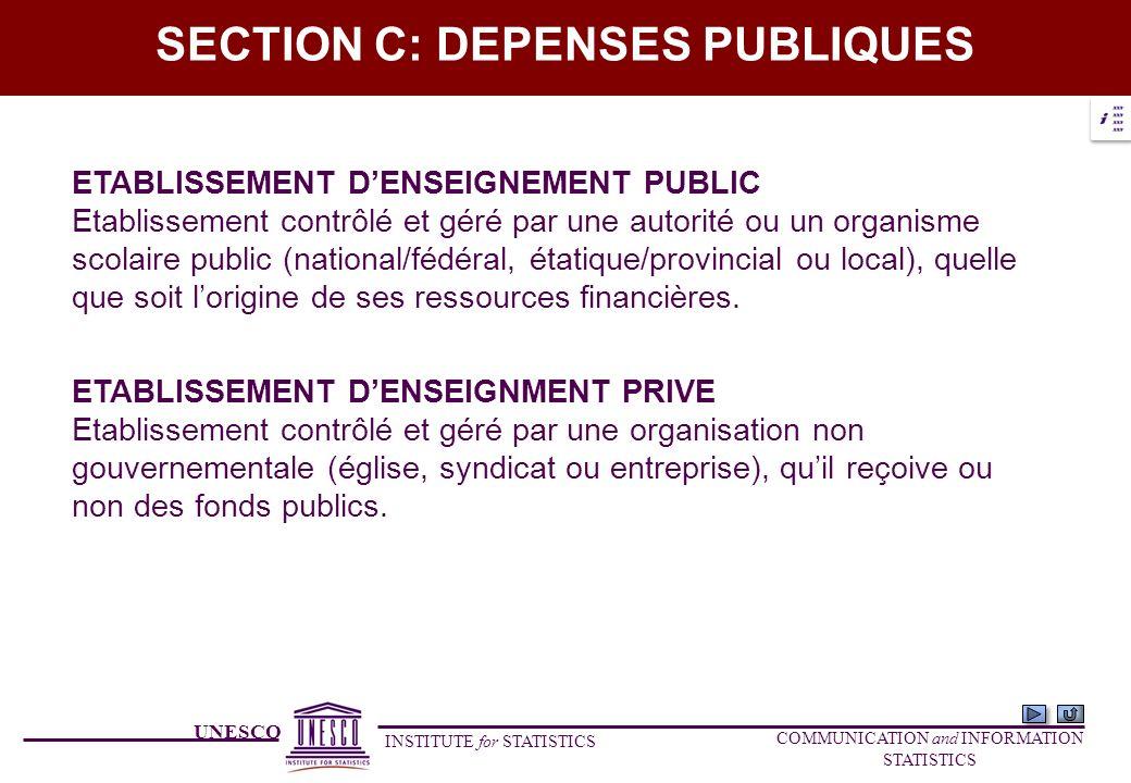 UNESCO INSTITUTE for STATISTICS COMMUNICATION and INFORMATION STATISTICS SECTION C: DEPENSES PUBLIQUES ETABLISSEMENT DENSEIGNMENT PRIVE Etablissement