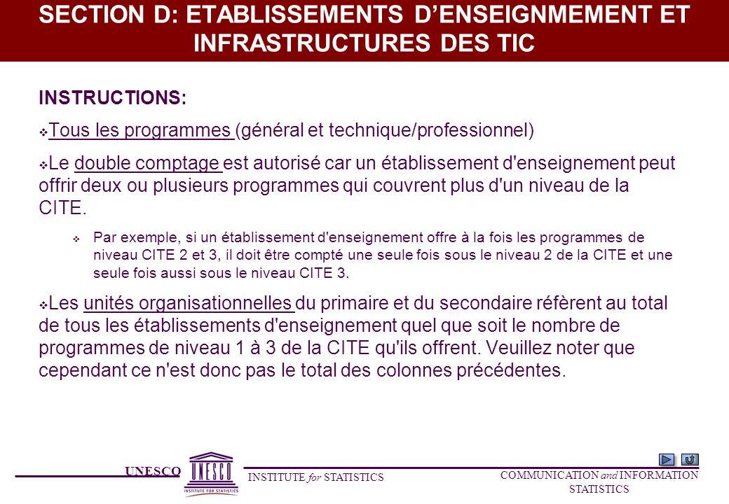 UNESCO INSTITUTE for STATISTICS COMMUNICATION and INFORMATION STATISTICS SECTION D: ETABLISSEMENTS DENSEIGNMEMENT ET INFRASTRUCTURES DES TIC INSTRUCTI