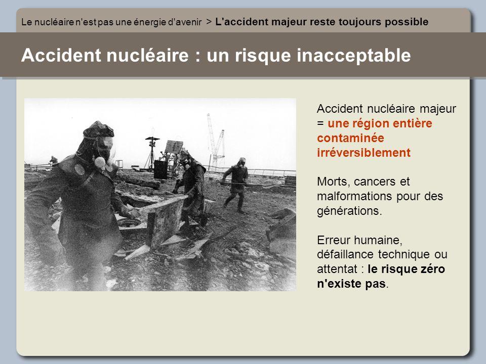 Accident nucléaire : un risque inacceptable Le nucléaire n'est pas une énergie d'avenir > L'accident majeur reste toujours possible Accident nucléaire