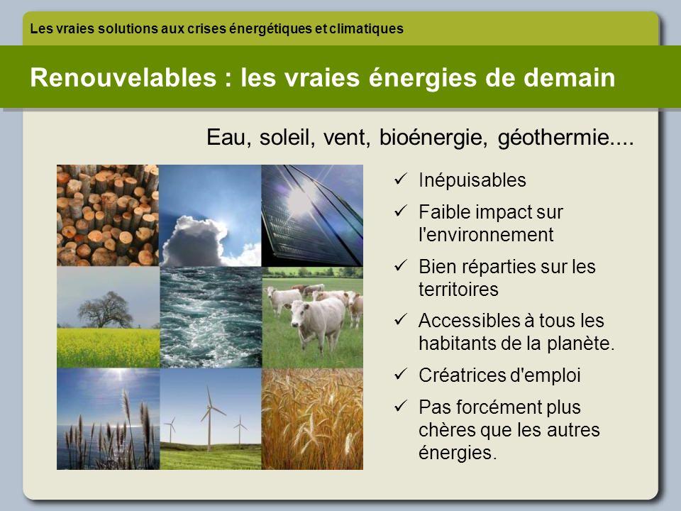 Renouvelables : les vraies énergies de demain Les vraies solutions aux crises énergétiques et climatiques Inépuisables Faible impact sur l'environneme