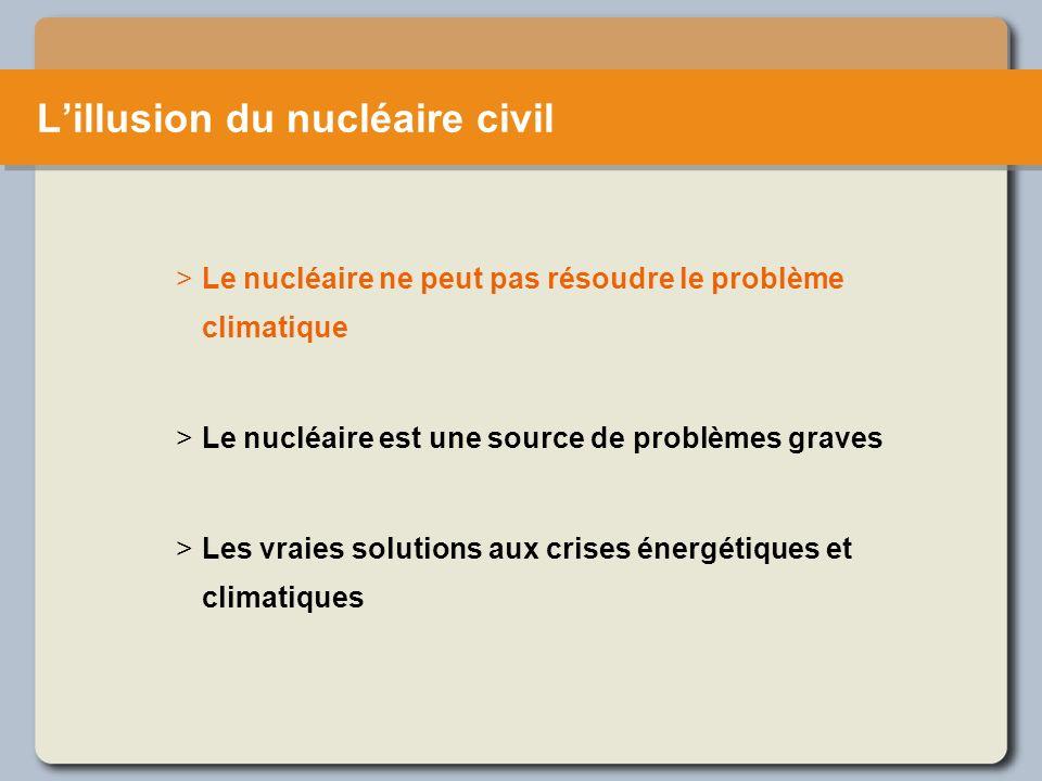 Le nucléaire ponctionne les moyens publics Le nucléaire est une source de problèmes graves La majorité des budgets de recherche sur l énergie vont au nucléaire.