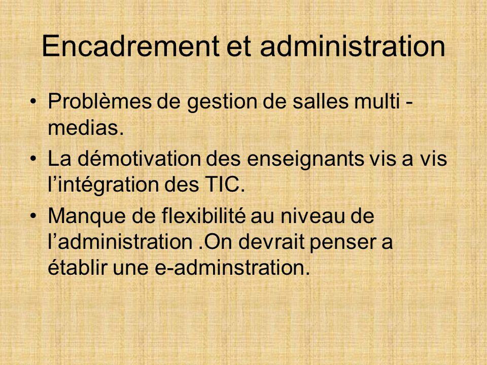 Encadrement et administration Problèmes de gestion de salles multi - medias.