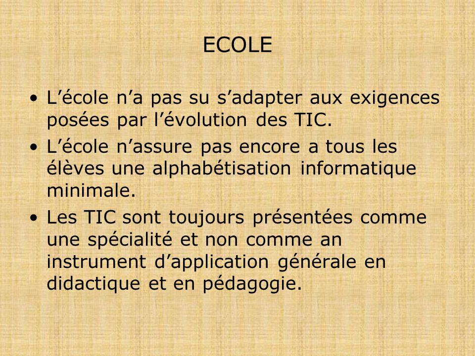 ECOLE Lécole na pas su sadapter aux exigences posées par lévolution des TIC.
