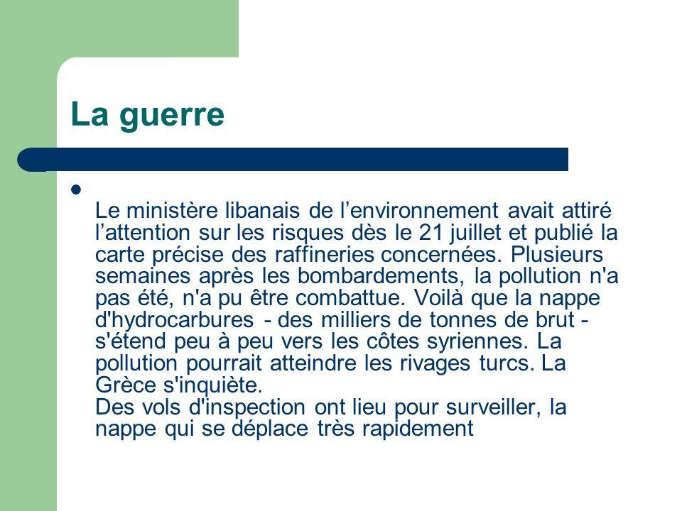 La guerre Le ministère libanais de lenvironnement avait attiré lattention sur les risques dès le 21 juillet et publié la carte précise des raffineries