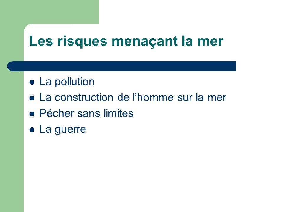 Les risques menaçant la mer La pollution La construction de lhomme sur la mer Pécher sans limites La guerre