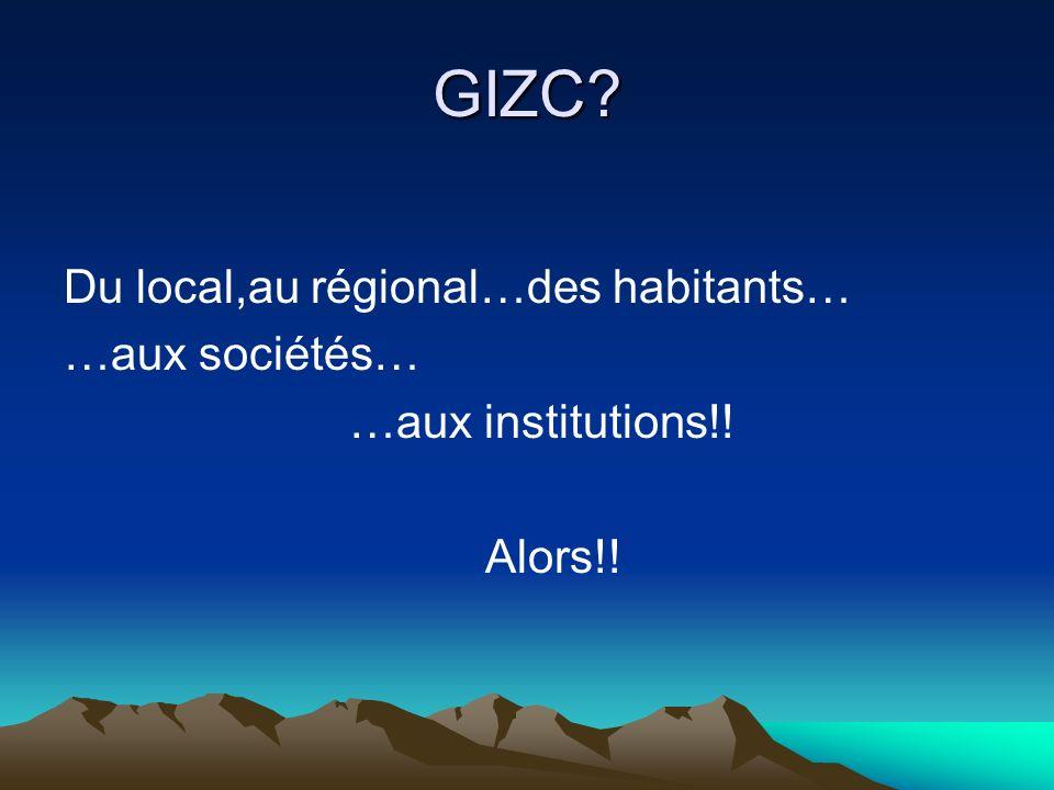 GIZC? Du local,au régional…des habitants… …aux sociétés… …aux institutions!! Alors!!