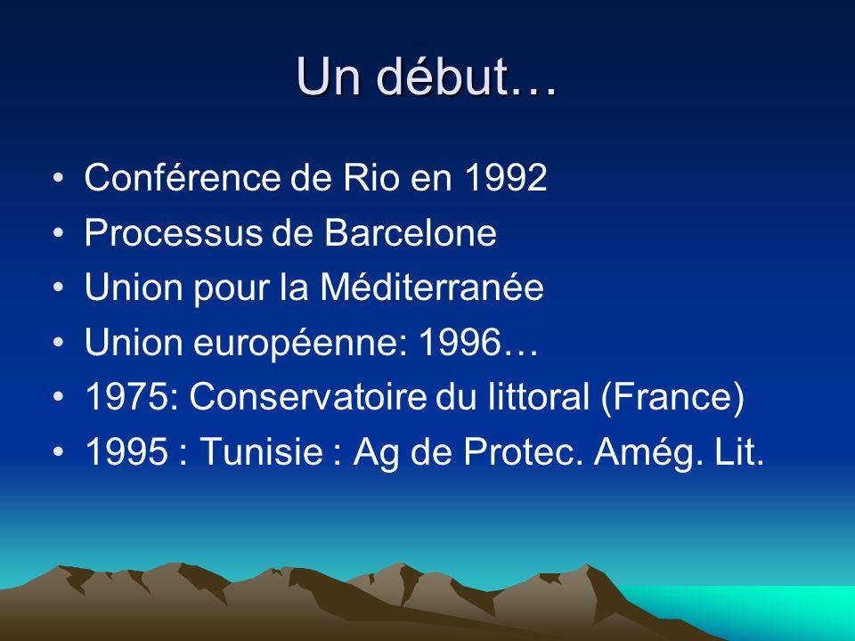 Un début… Conférence de Rio en 1992 Processus de Barcelone Union pour la Méditerranée Union européenne: 1996… 1975: Conservatoire du littoral (France)
