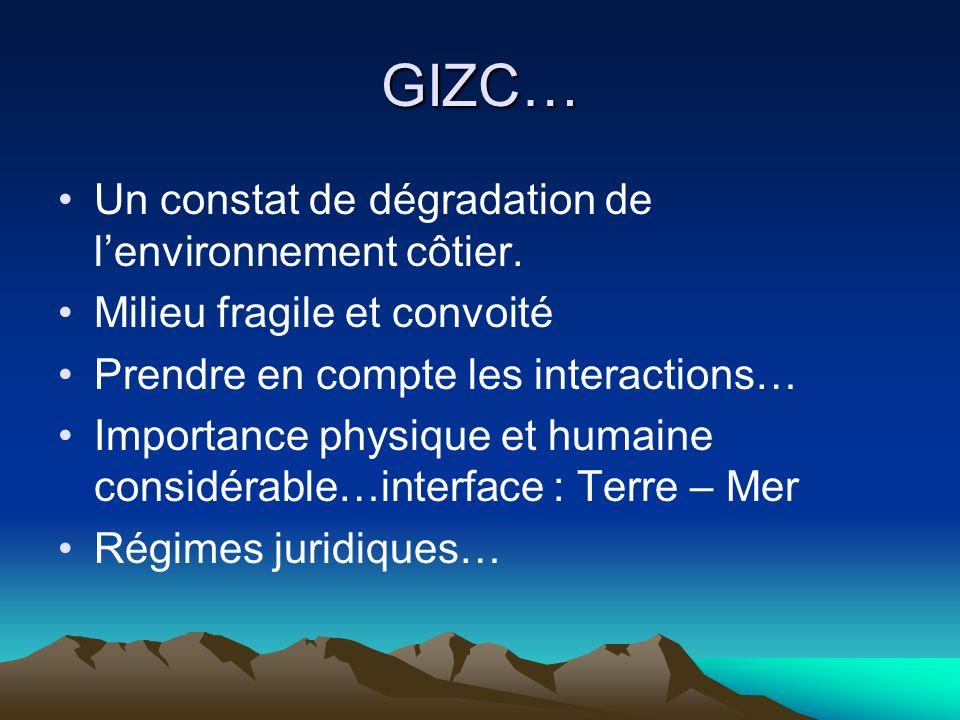 GIZC… Un constat de dégradation de lenvironnement côtier. Milieu fragile et convoité Prendre en compte les interactions… Importance physique et humain