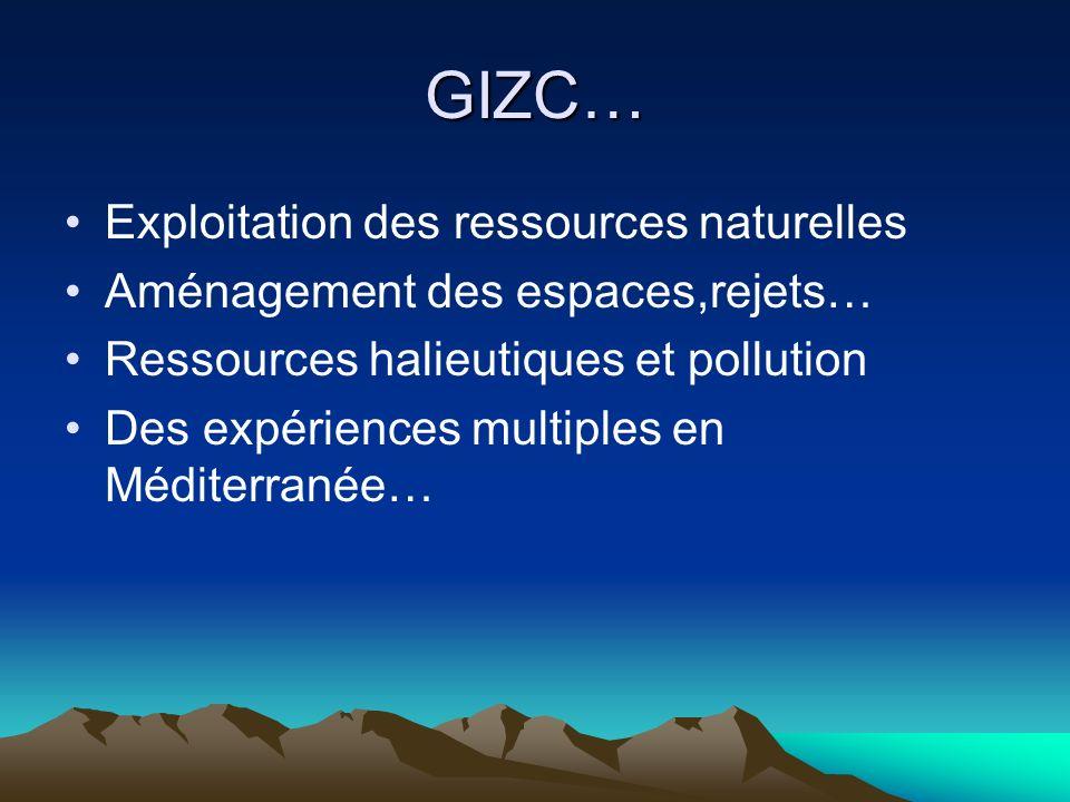 GIZC… Exploitation des ressources naturelles Aménagement des espaces,rejets… Ressources halieutiques et pollution Des expériences multiples en Méditer