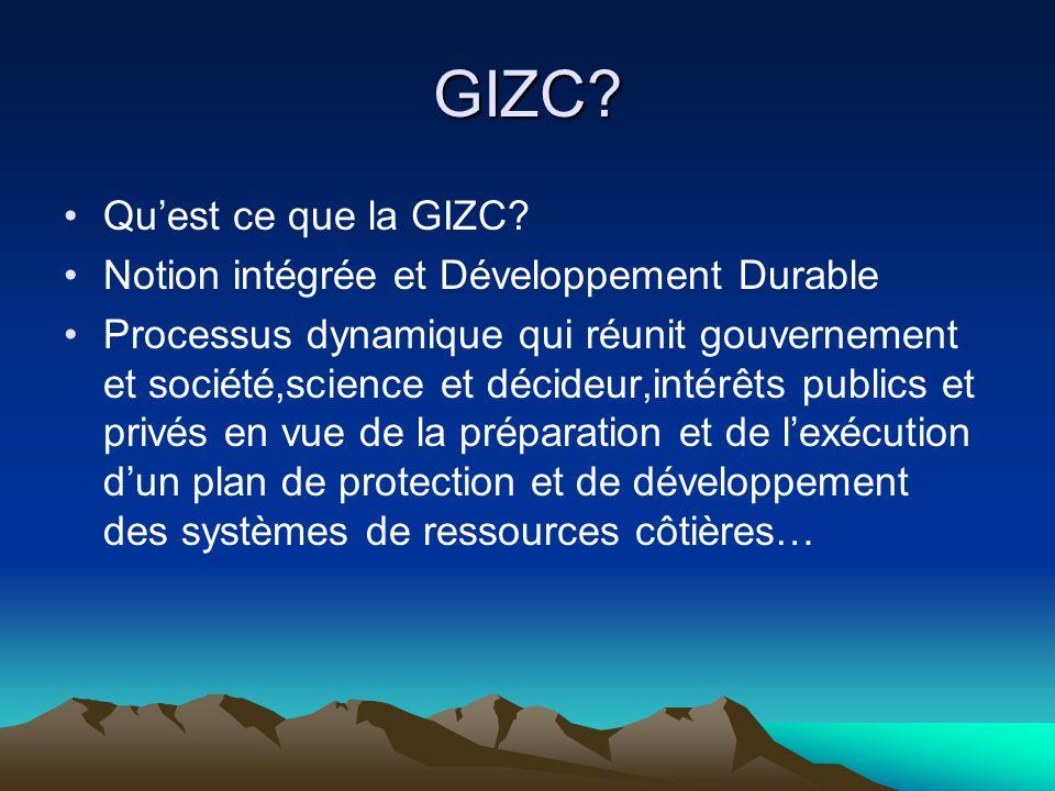 GIZC? Quest ce que la GIZC? Notion intégrée et Développement Durable Processus dynamique qui réunit gouvernement et société,science et décideur,intérê