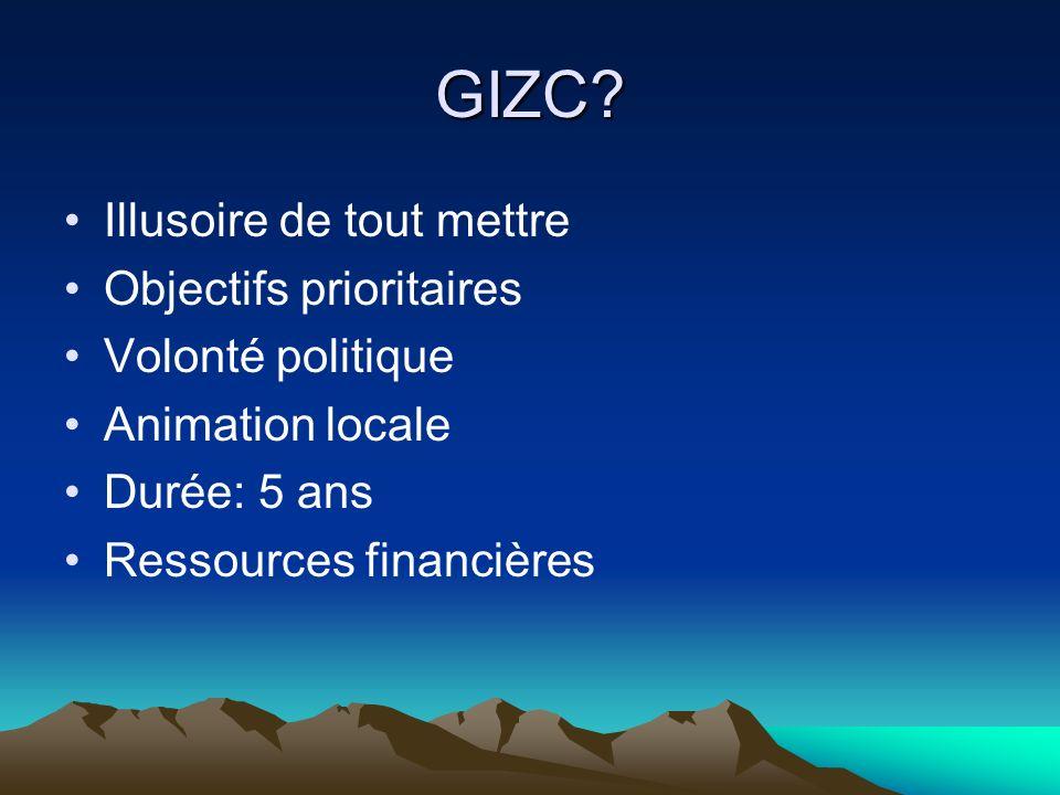 GIZC? Illusoire de tout mettre Objectifs prioritaires Volonté politique Animation locale Durée: 5 ans Ressources financières