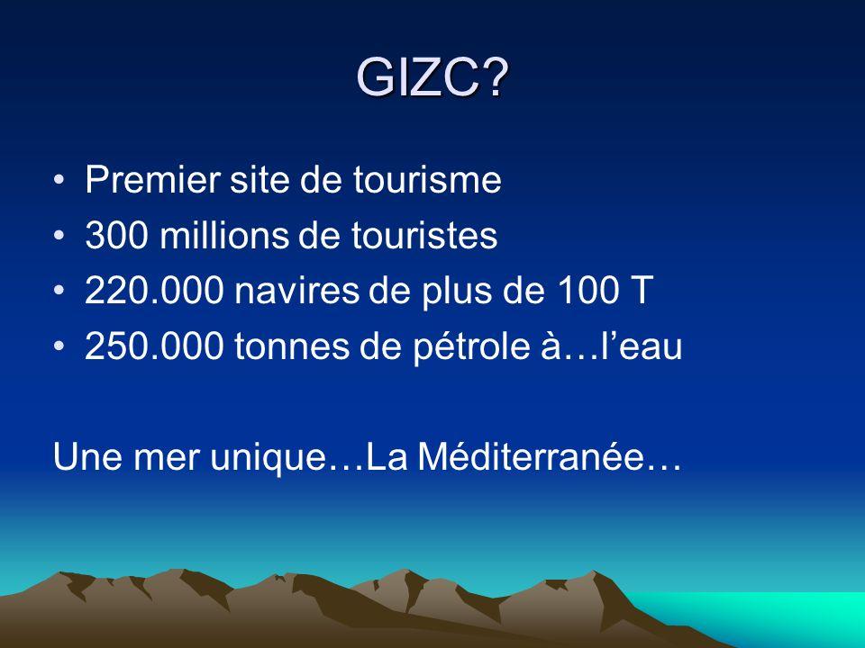 GIZC? Premier site de tourisme 300 millions de touristes 220.000 navires de plus de 100 T 250.000 tonnes de pétrole à…leau Une mer unique…La Méditerra