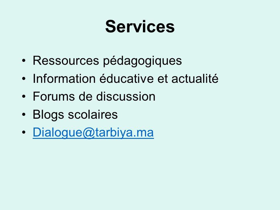 Services Ressources pédagogiques Information éducative et actualité Forums de discussion Blogs scolaires Dialogue@tarbiya.ma