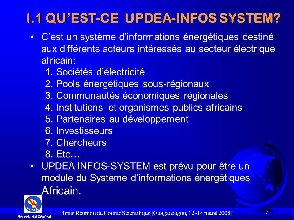 Banque de Données ELECTRICITE PETROLE+GAZ BOIS SYSTEME AFRICAIN DINFORMATION ENERGETIQUE UPDEAUPDEA OABOAB APPAAPPA ………… SCHEMA GENERAL DU SYSTEME AFRICAIN DINFORMATION ENERGETIQUE Secrétariat Général