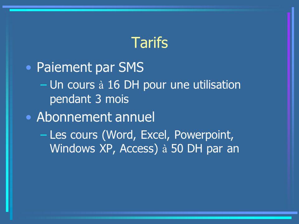 Tarifs Paiement par SMS –Un cours à 16 DH pour une utilisation pendant 3 mois Abonnement annuel –Les cours (Word, Excel, Powerpoint, Windows XP, Acces