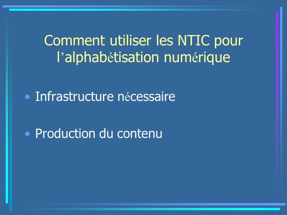 Comment utiliser les NTIC pour l alphab é tisation num é rique Infrastructure n é cessaire Production du contenu
