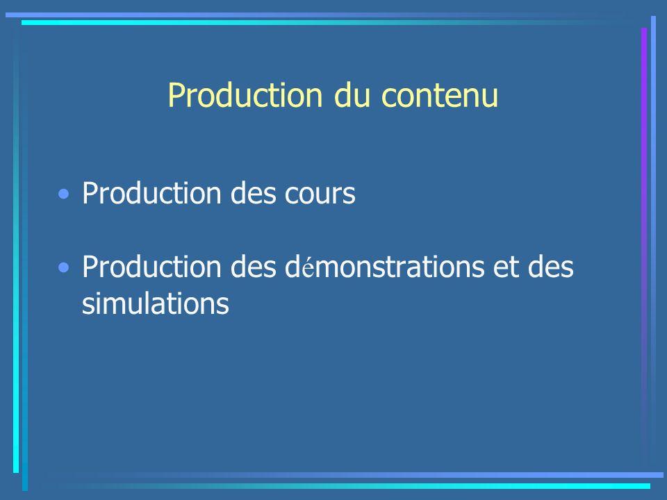 Production du contenu Production des cours Production des d é monstrations et des simulations