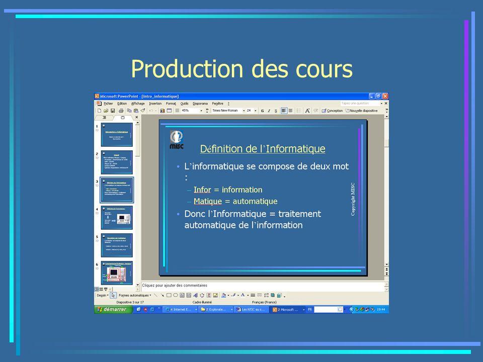 Production des cours