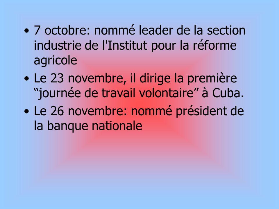 7 octobre: nommé leader de la section industrie de l'Institut pour la réforme agricole Le 23 novembre, il dirige la première journée de travail volont