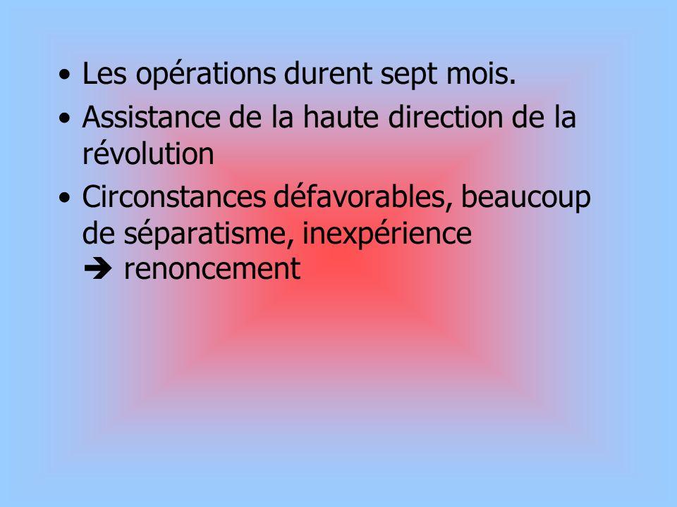 Les opérations durent sept mois. Assistance de la haute direction de la révolution Circonstances défavorables, beaucoup de séparatisme, inexpérience r
