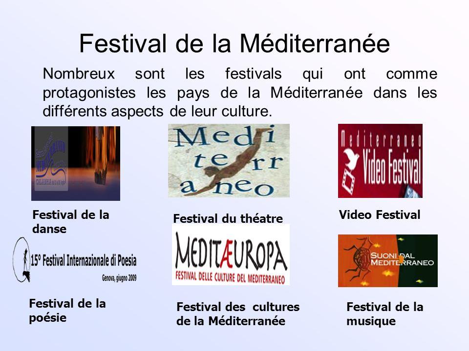 Festival de la Méditerranée Nombreux sont les festivals qui ont comme protagonistes les pays de la Méditerranée dans les différents aspects de leur cu