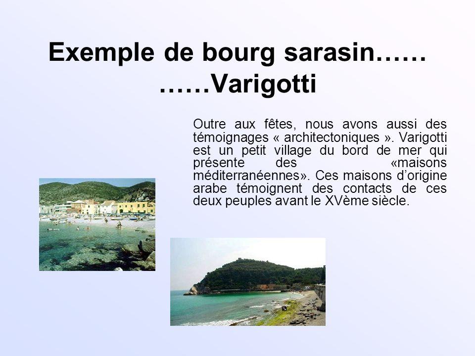 Exemple de bourg sarasin…… ……Varigotti Outre aux fêtes, nous avons aussi des témoignages « architectoniques ». Varigotti est un petit village du bord