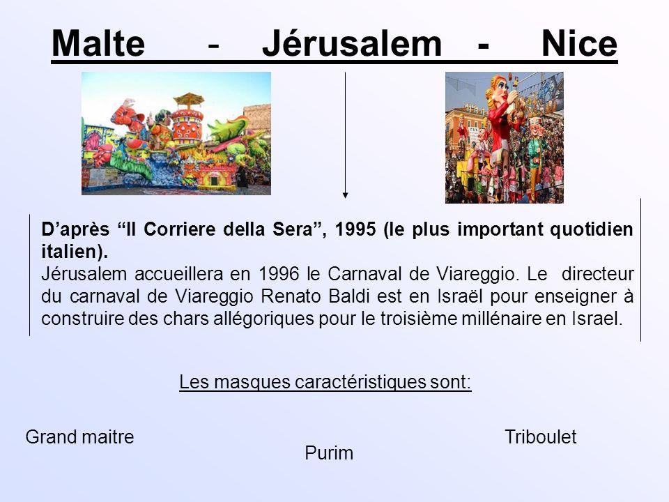 Malte - Jérusalem - Nice Daprès Il Corriere della Sera, 1995 (le plus important quotidien italien). Jérusalem accueillera en 1996 le Carnaval de Viare