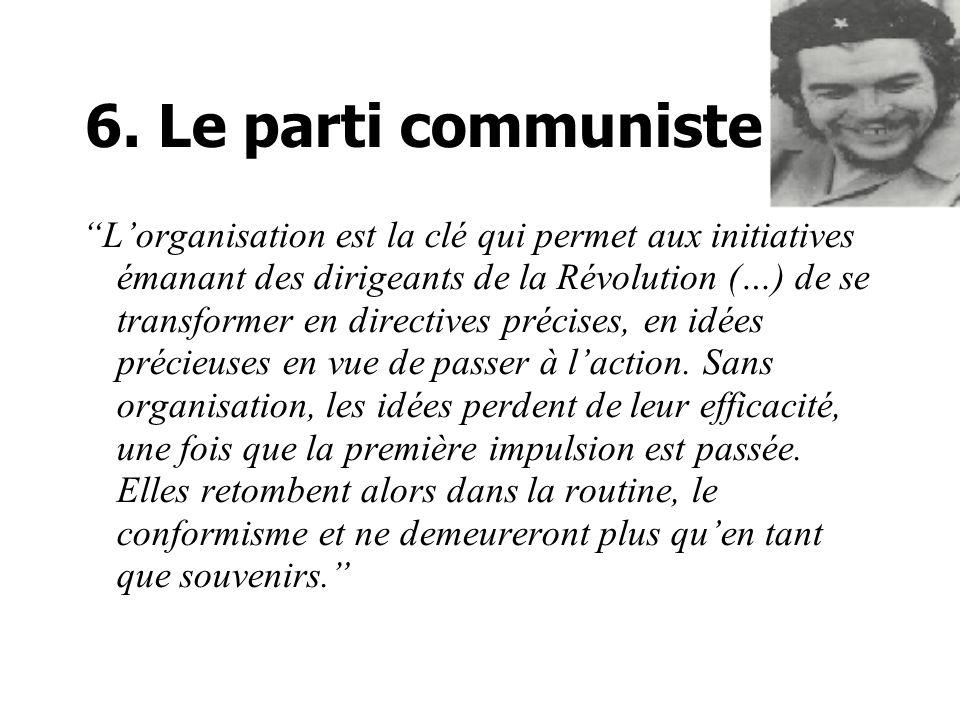 6. Le parti communiste Lorganisation est la clé qui permet aux initiatives émanant des dirigeants de la Révolution (…) de se transformer en directives