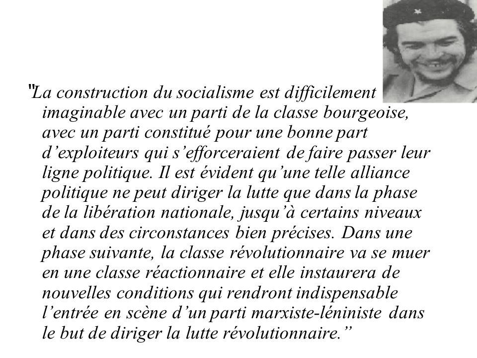La construction du socialisme est difficilement imaginable avec un parti de la classe bourgeoise, avec un parti constitué pour une bonne part dexploiteurs qui sefforceraient de faire passer leur ligne politique.
