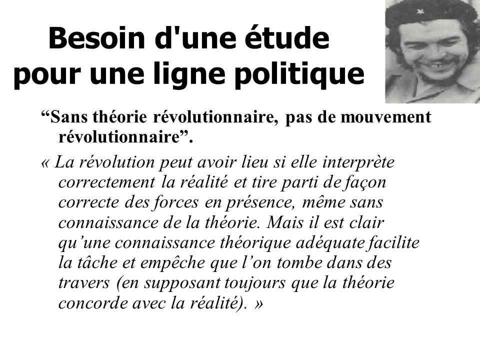 Besoin d une étude pour une ligne politique Sans théorie révolutionnaire, pas de mouvement révolutionnaire.