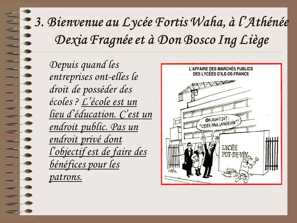 3. Bienvenue au Lycée Fortis Waha, à lAthénée Dexia Fragnée et à Don Bosco Ing Liège Depuis quand les entreprises ont-elles le droit de posséder des é