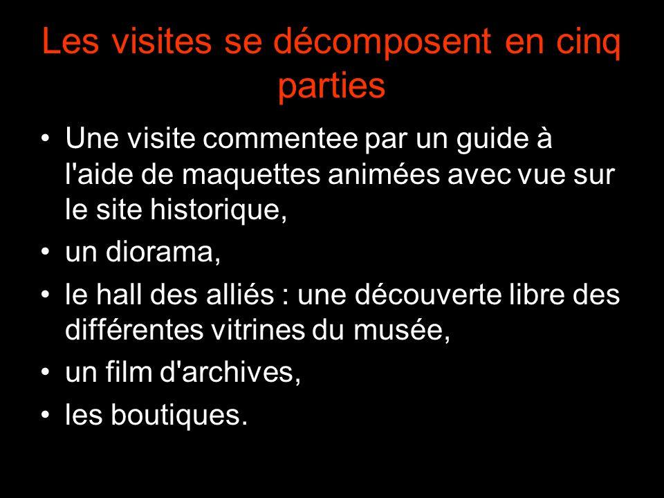 Les visites se décomposent en cinq parties Une visite commentee par un guide à l aide de maquettes animées avec vue sur le site historique, un diorama, le hall des alliés : une découverte libre des différentes vitrines du musée, un film d archives, les boutiques.