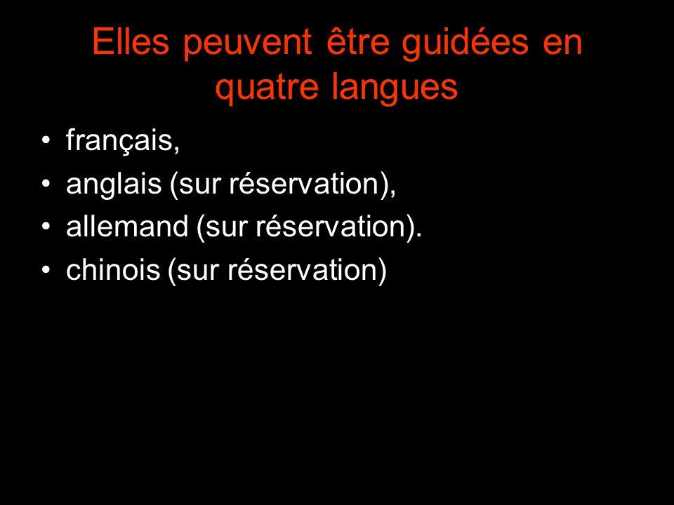Elles peuvent être guidées en quatre langues français, anglais (sur réservation), allemand (sur réservation).