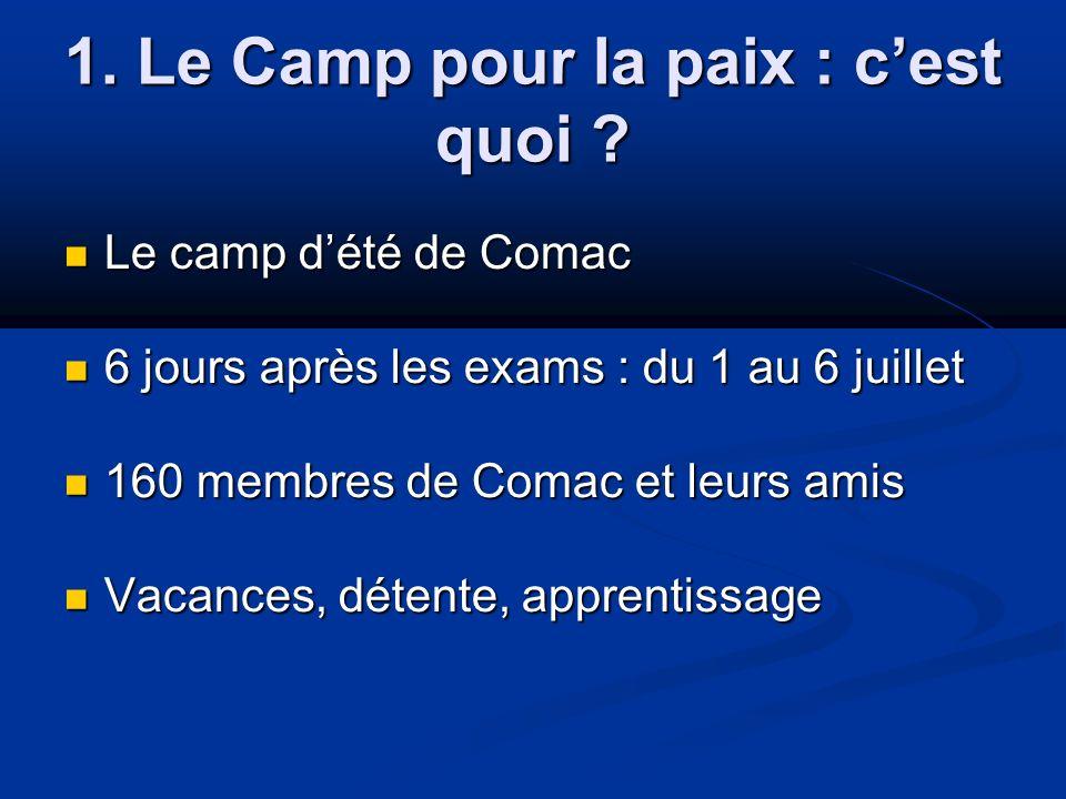 1. Le Camp pour la paix : cest quoi ? Le camp dété de Comac Le camp dété de Comac 6 jours après les exams : du 1 au 6 juillet 6 jours après les exams