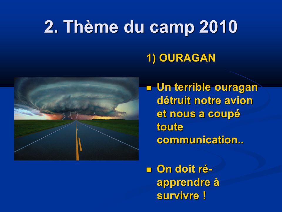 2. Thème du camp 2010 1) OURAGAN Un terrible ouragan détruit notre avion et nous a coupé toute communication.. Un terrible ouragan détruit notre avion