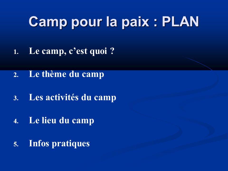 Camp pour la paix : PLAN 1. 1. Le camp, cest quoi ? 2. 2. Le thème du camp 3. 3. Les activités du camp 4. 4. Le lieu du camp 5. 5. Infos pratiques