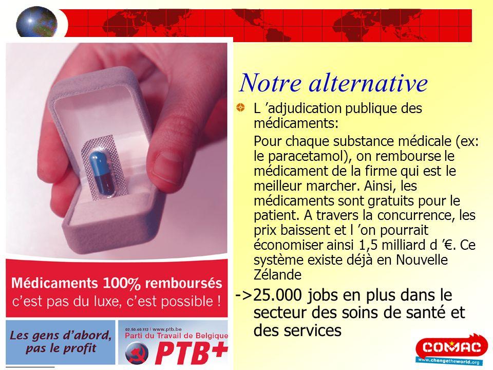 Notre alternative L adjudication publique des médicaments: Pour chaque substance médicale (ex: le paracetamol), on rembourse le médicament de la firme