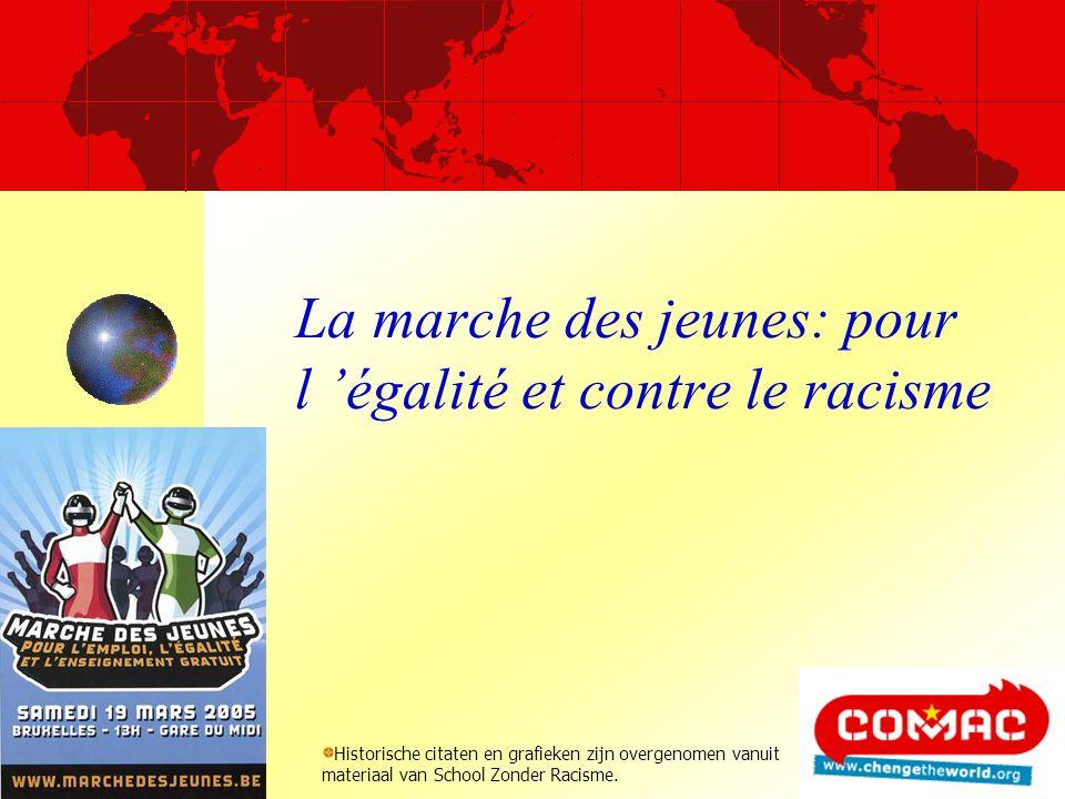 La marche des jeunes: pour l égalité et contre le racisme Historische citaten en grafieken zijn overgenomen vanuit materiaal van School Zonder Racisme