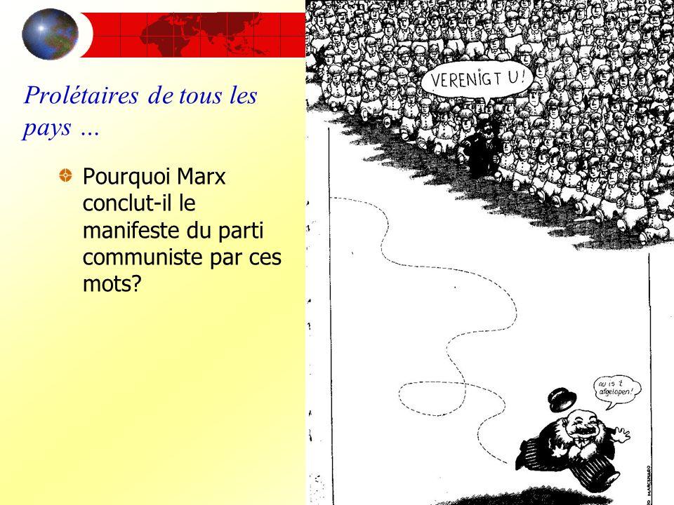 Prolétaires de tous les pays … Pourquoi Marx conclut-il le manifeste du parti communiste par ces mots?