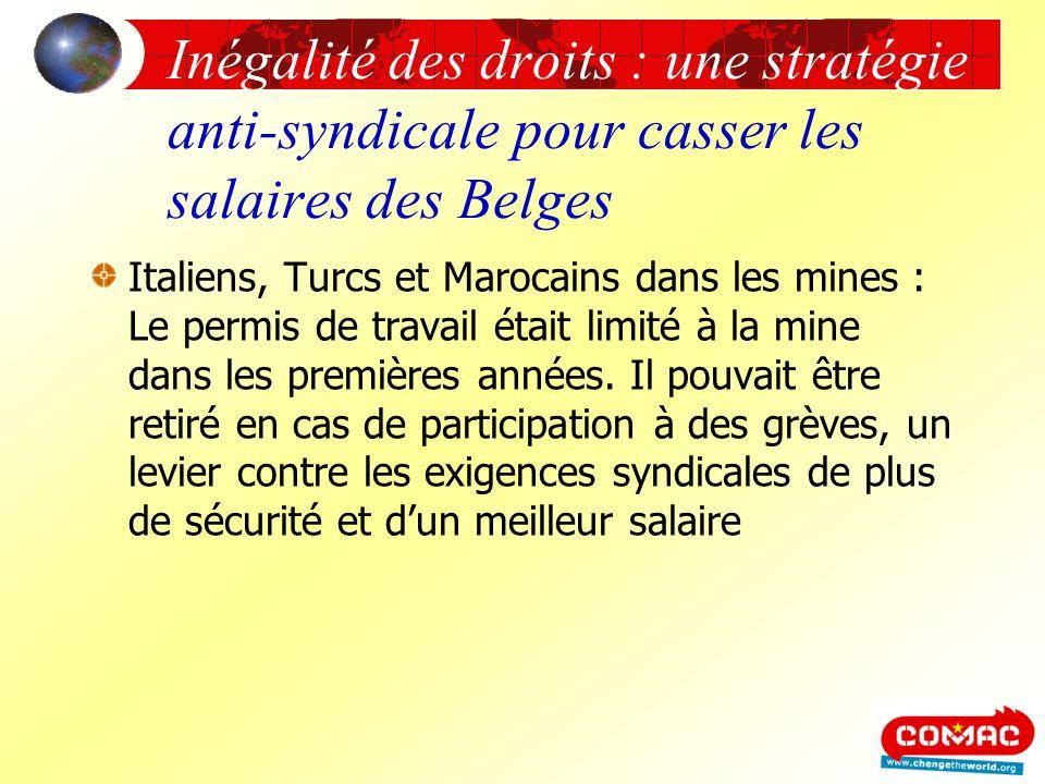 Inégalité des droits : une stratégie anti-syndicale pour casser les salaires des Belges Italiens, Turcs et Marocains dans les mines : Le permis de tra