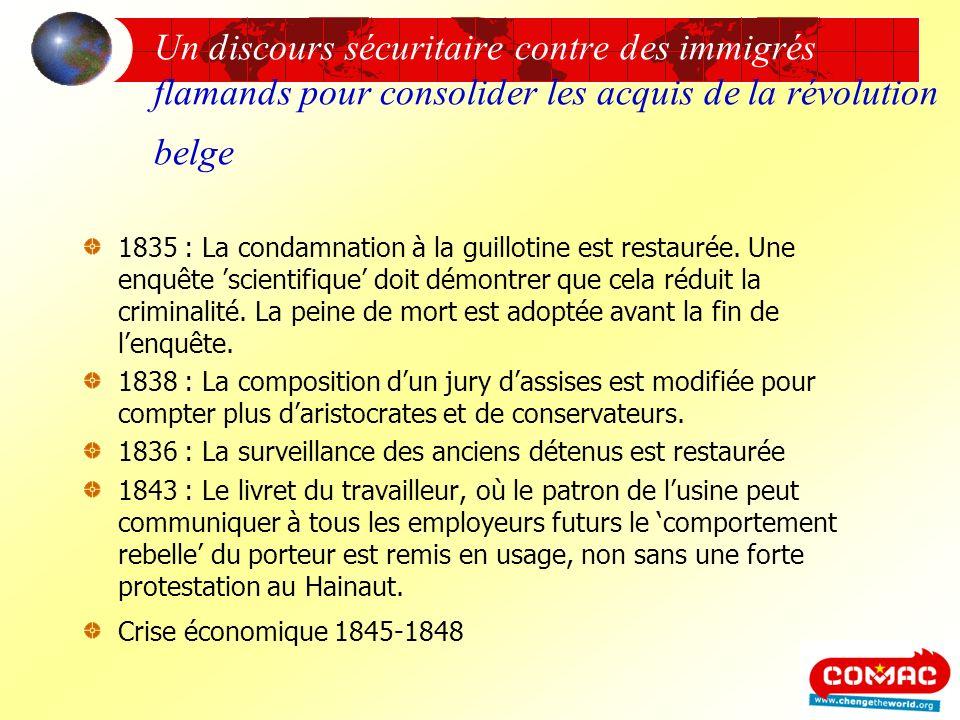 Un discours sécuritaire contre des immigrés flamands pour consolider les acquis de la révolution belge 1835 : La condamnation à la guillotine est rest