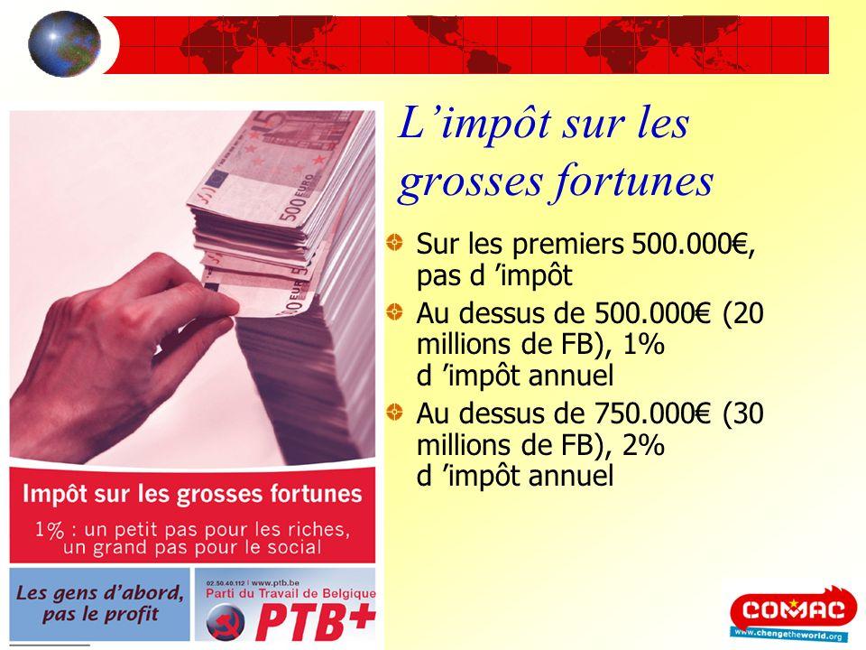 Limpôt sur les grosses fortunes Sur les premiers 500.000, pas d impôt Au dessus de 500.000 (20 millions de FB), 1% d impôt annuel Au dessus de 750.000