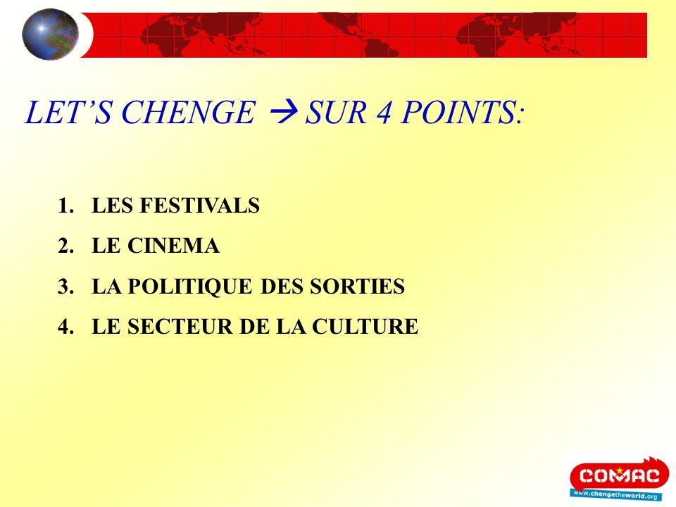 LETS CHENGE SUR 4 POINTS: 1.LES FESTIVALS 2.LE CINEMA 3.LA POLITIQUE DES SORTIES 4.LE SECTEUR DE LA CULTURE