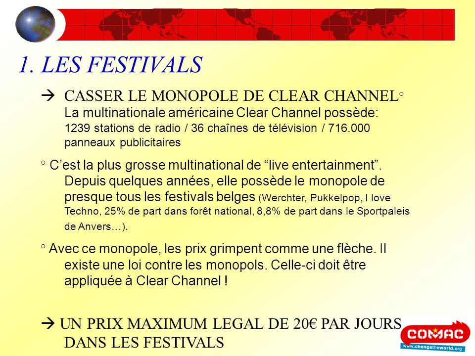 1. LES FESTIVALS CASSER LE MONOPOLE DE CLEAR CHANNEL ° La multinationale américaine Clear Channel possède: 1239 stations de radio / 36 chaînes de télé
